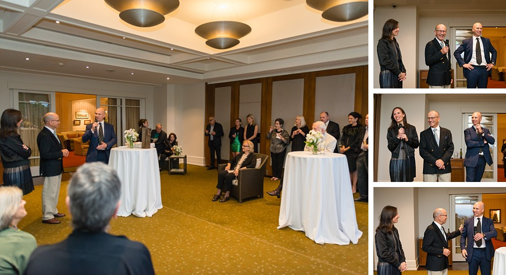 Speech inside the clubroom at the Royal Sydney Golf Club at Rose Bay