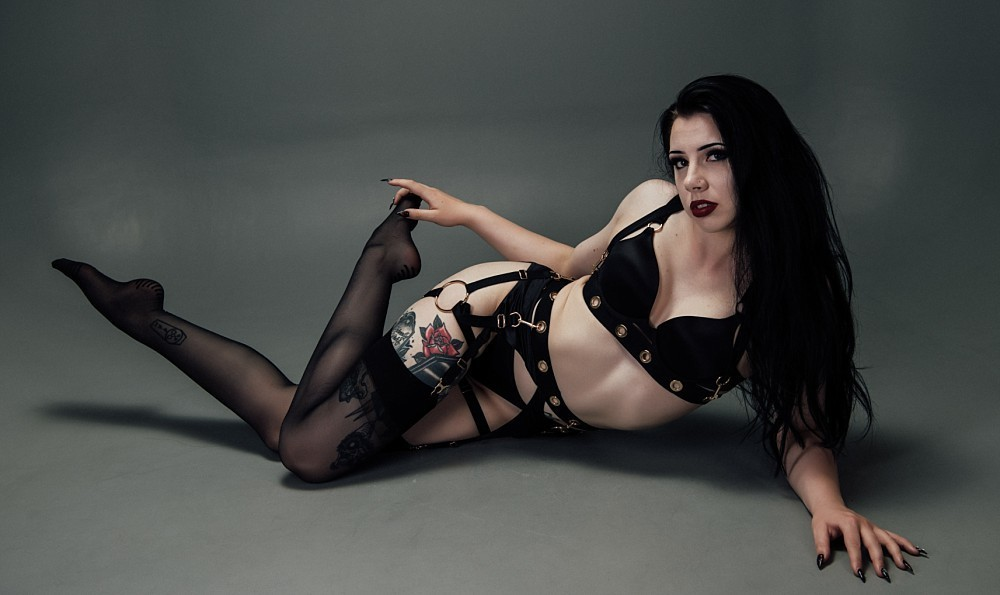 Goth Woman in black bra & bottom in Sydney studio boudoir photography session