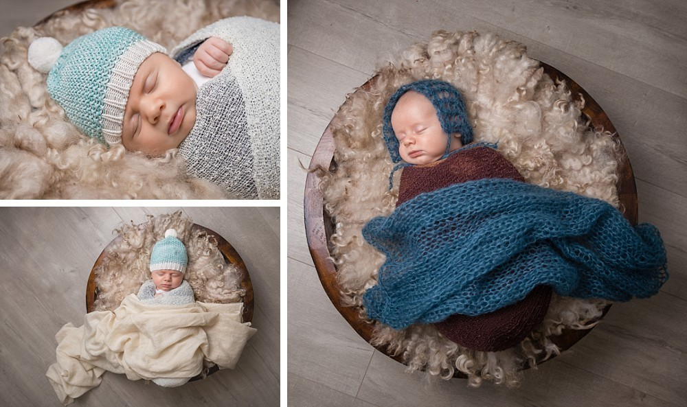 One month old baby wrapped sleeping in bucket in Sydney studio