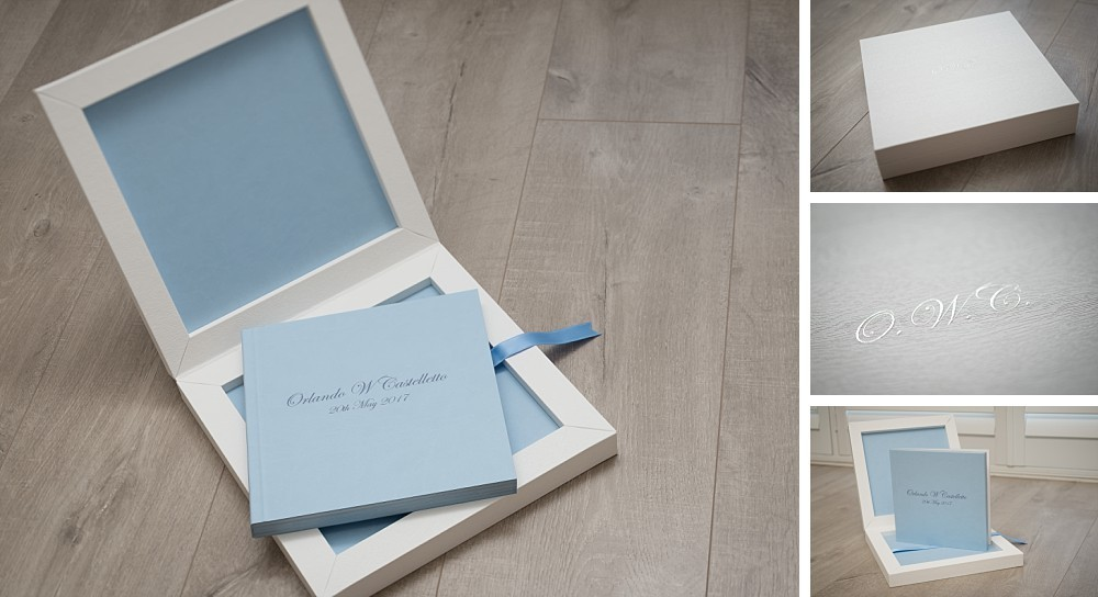 Italian album in white maple and light blue leather with silver foil title