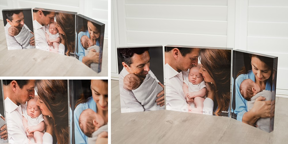 Caucasian family with newborn baby in 3 Piece Crystal Set