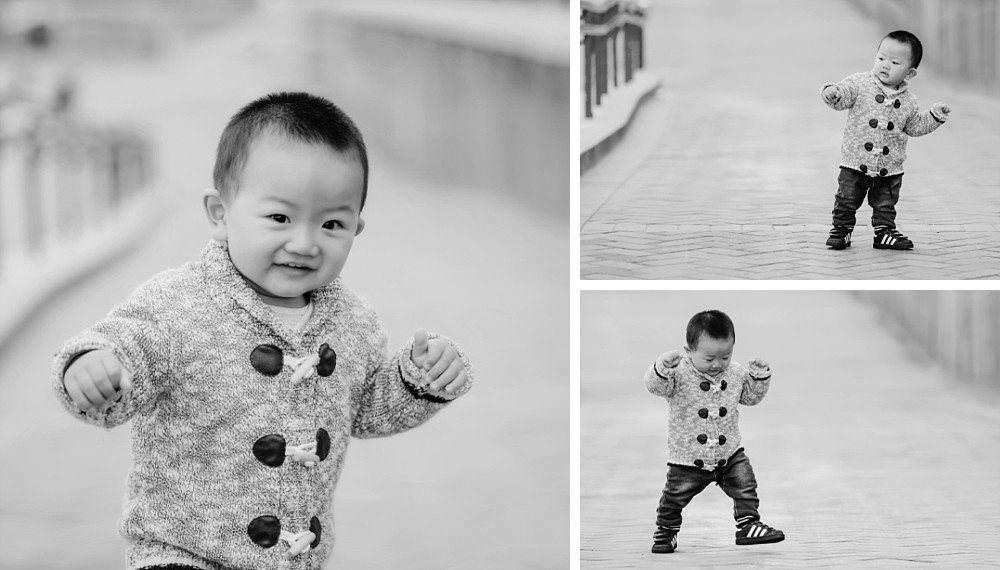 1 year old Asian boy playing at Coogee Beach Sydney
