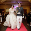 Asian couple in wedding dress and military uniform in Sydney hotel
