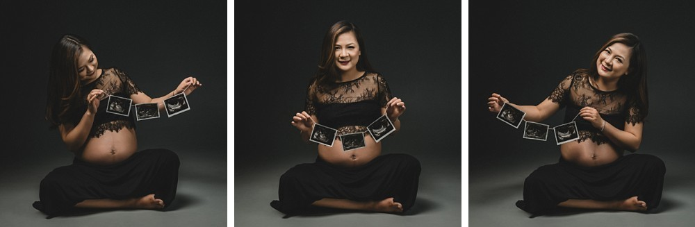 Pregnant woman with ultrasound scans in Sydney photo studio