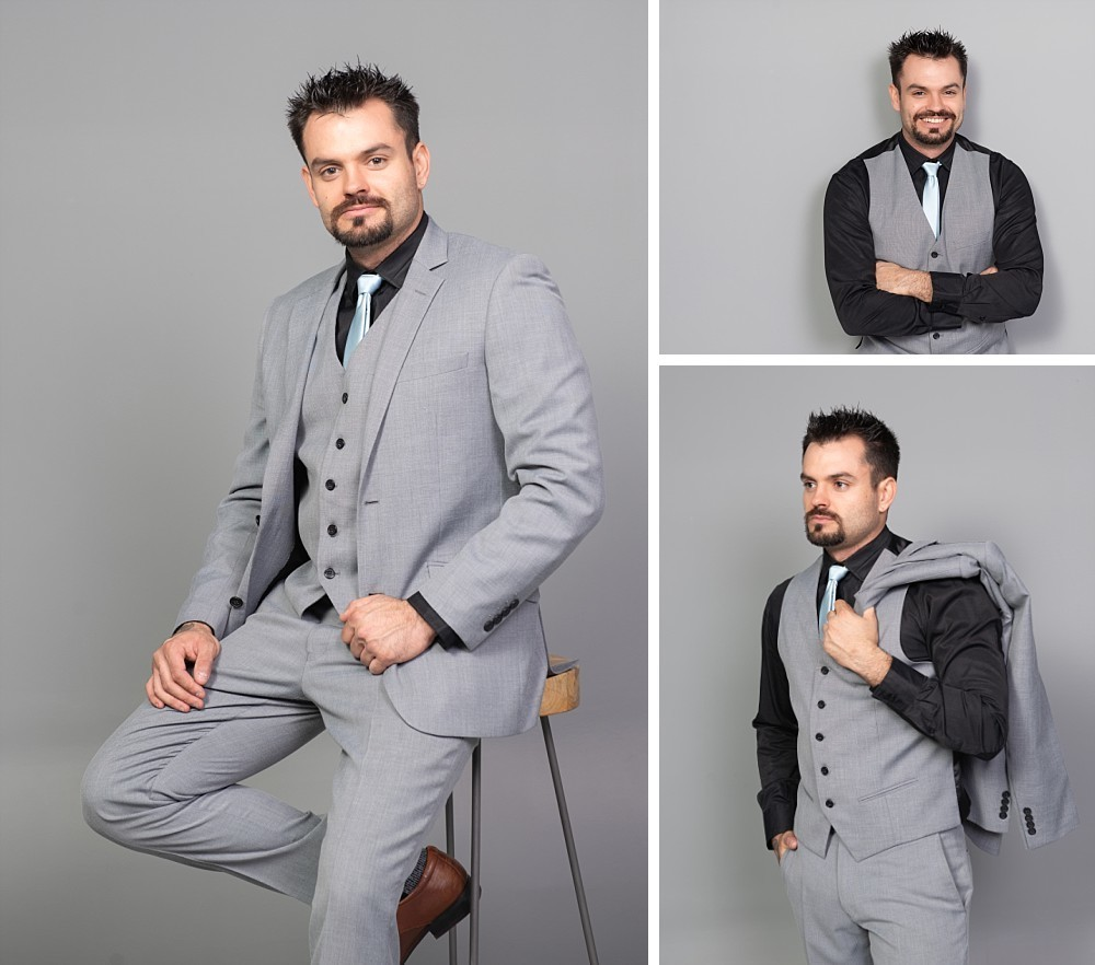 Man with beard in 3 piece suit in Sydney studio photography