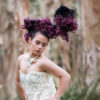 Woman at Sydney Centennial Park with styled headdress
