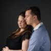 Pregnant Caucasian couple in Sydney studio