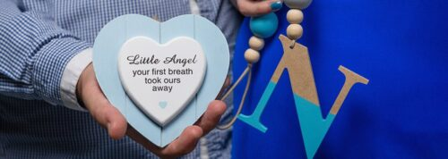 Wooden heart with Little Angel message and wooden N