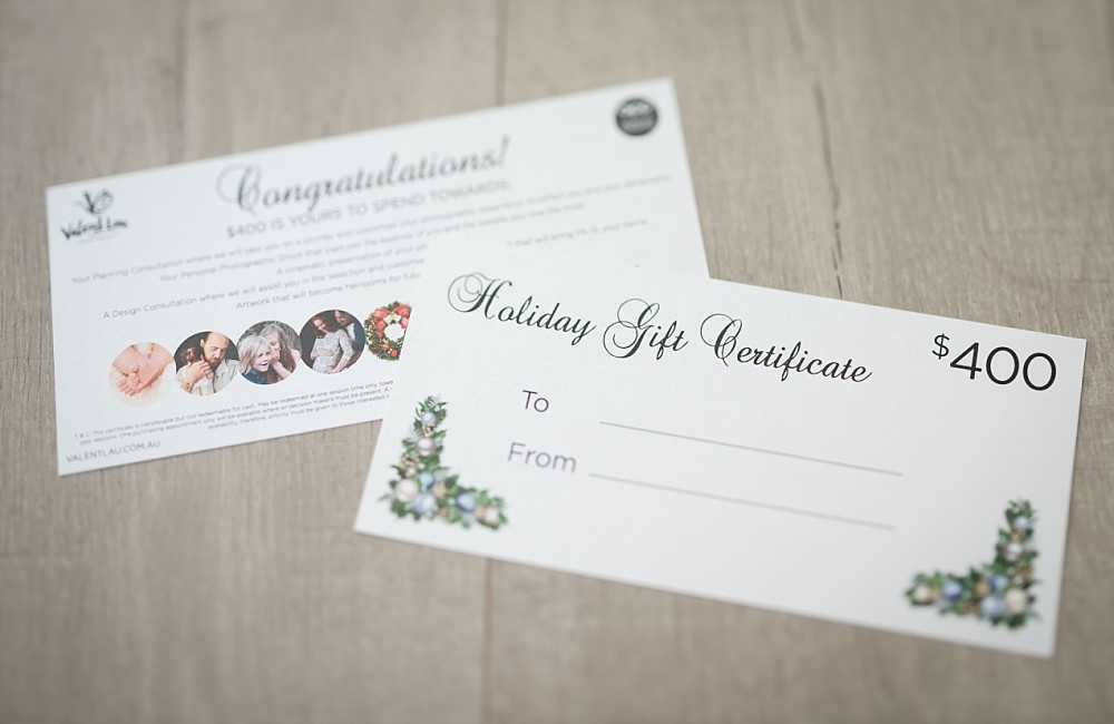 Sydney photography Holiday gift certificates