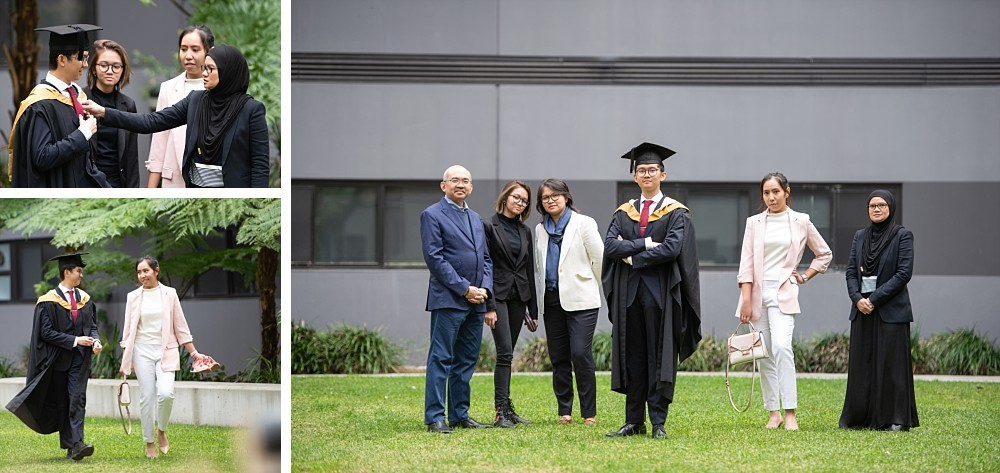 Asian family at UNSW village with graduation gown and testamur