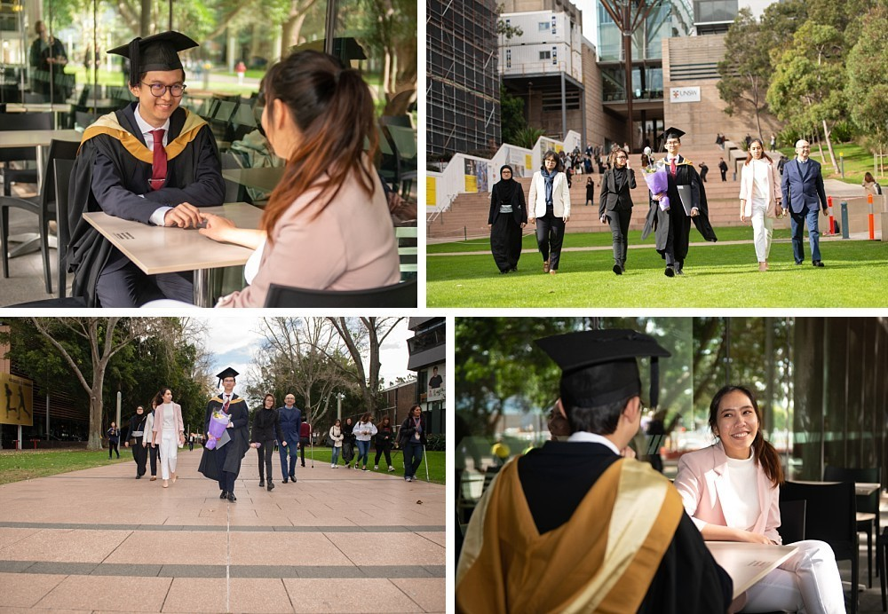 Asian family at UNSW Kensington with graduation gown and testamur