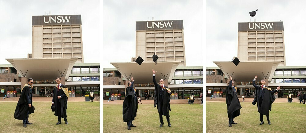 New university graduates at UNSW throwing their caps in the air