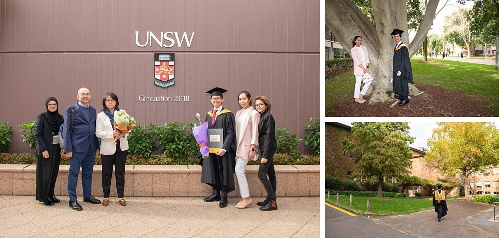 Asian family at UNSW with graduation gown and testamur