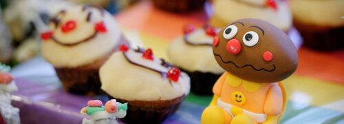 Close-up of Anpanman cake decorations in Chatswood
