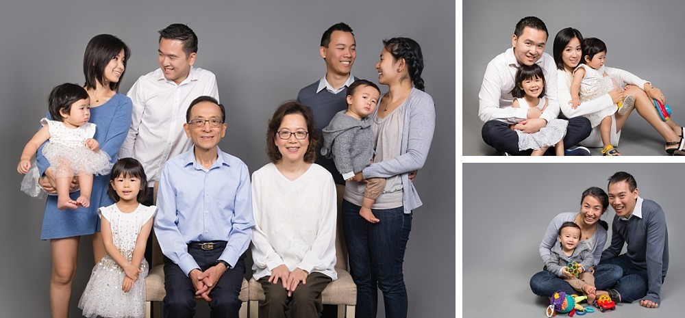 Asian extended family with grandparents and grandkids in Sydney studio photography session