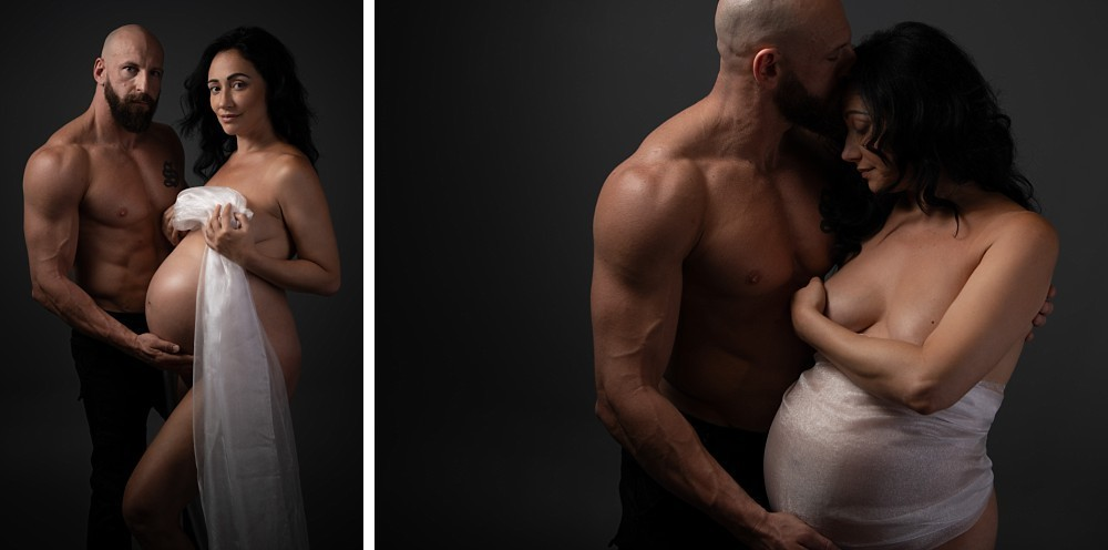 Couple in pregnancy boudoir maternity session Sydney