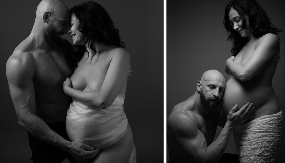 Couple in implied nude maternity photography session