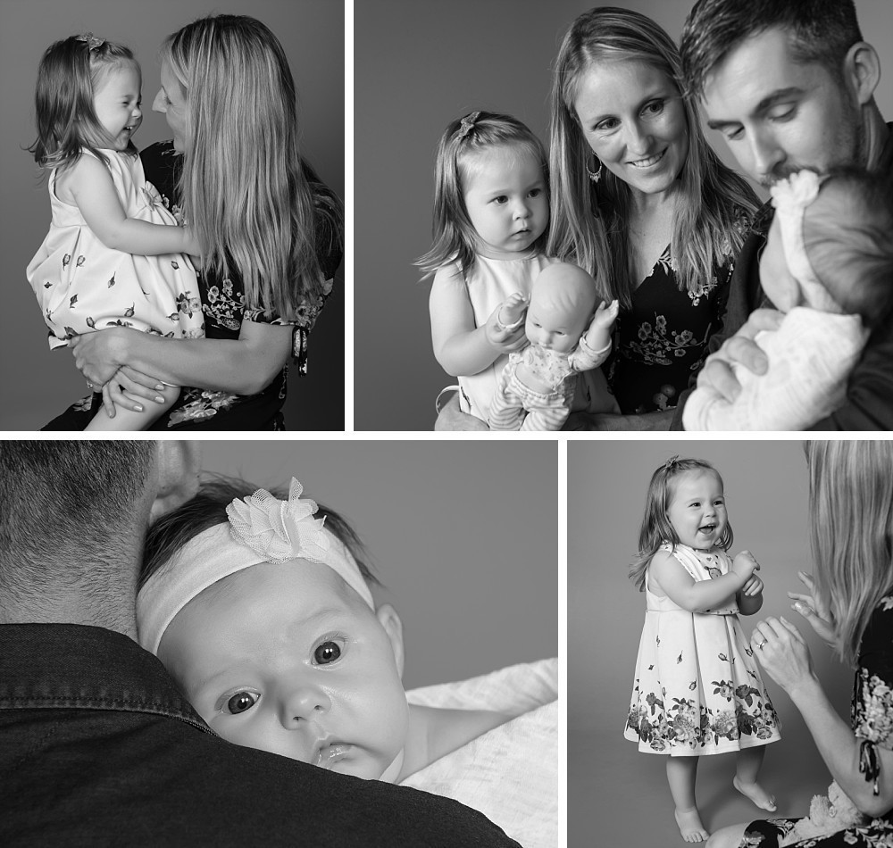 Family with 2yr old daughter and baby girl in Sydney studio photography session