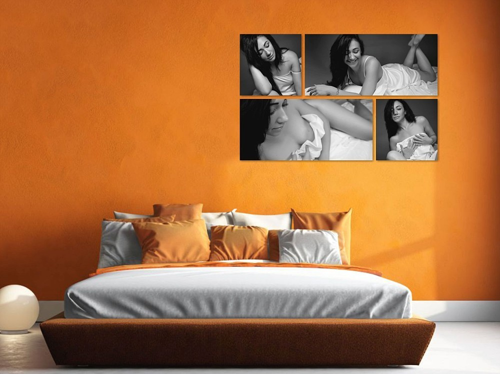 Artwork of Caucasian woman in boudoir photography session over a bed in Sydney