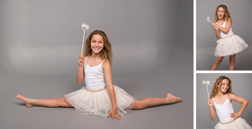 10 year old girl in tulle dress and fairy wand in Sydney Eastern Suburbs photography studio