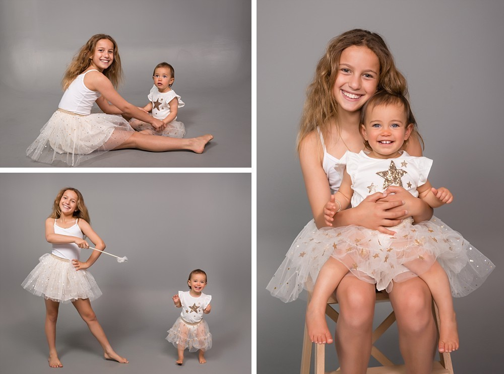 Two sisters in matching tulle dress and fairy wand in Sydney Eastern Suburbs photography studio
