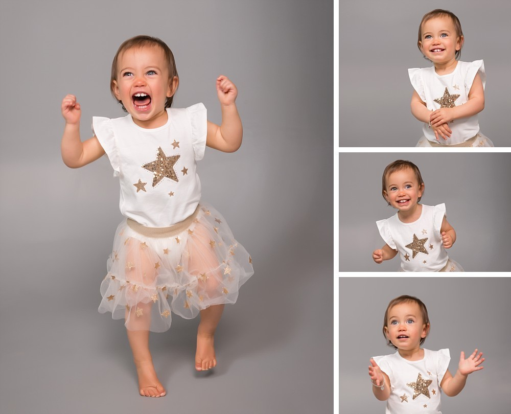 1 year old toddler girl in tulle dress in Sydney Eastern Suburbs photography studio