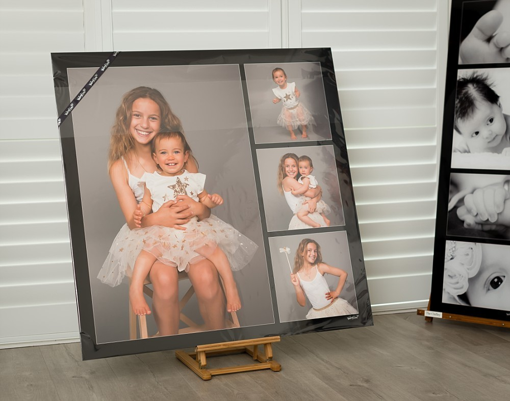 Metal artwork of two sisters in Sydney Coogee photography studio