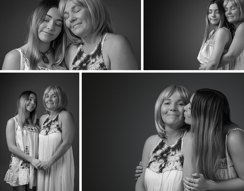 Mother and teenage daughter in matching dresses in studio portrait shoot in Coogee, Sydney