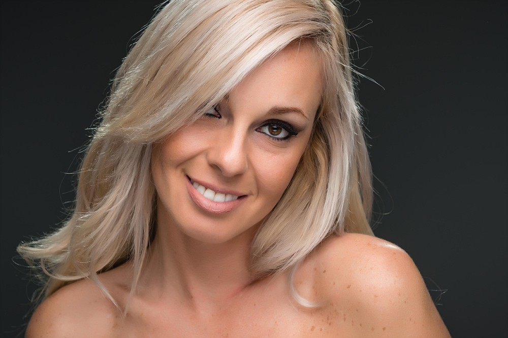 Beauty headshot of blonde female Caucasian in Sydney studio