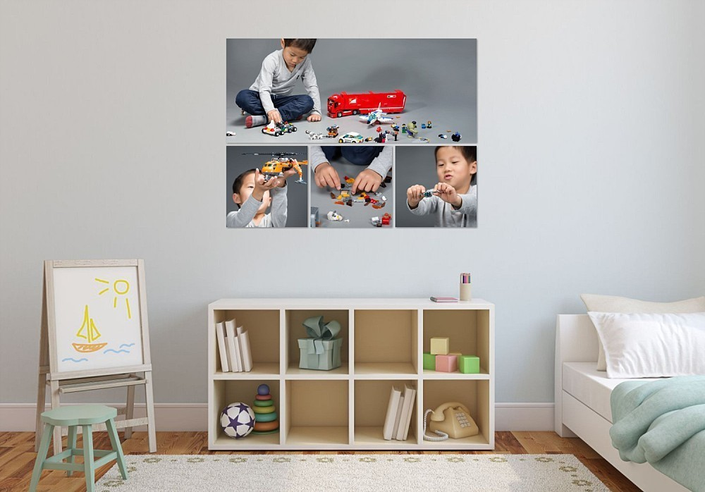 Canvas artwork collection of 5 year old boy playing with Lego on wall in kids bedroom