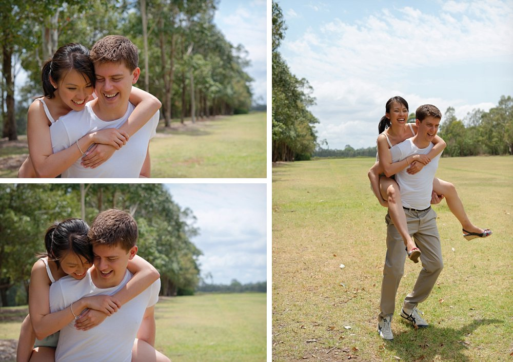 Man carrying woman on his back in Sydney Photography Session