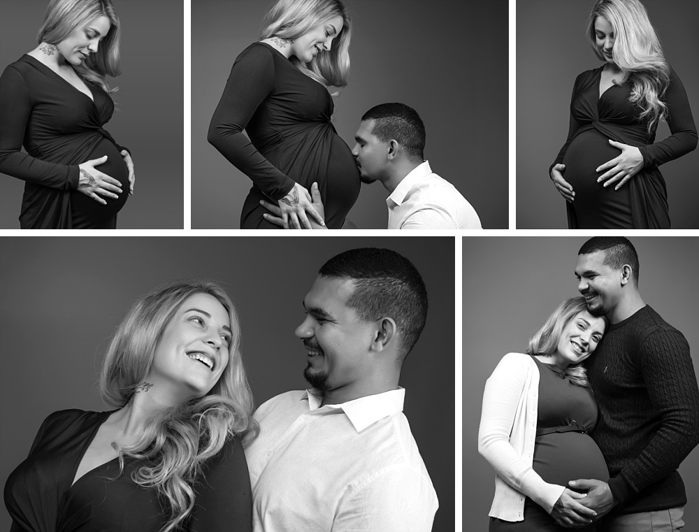 Family in studio pregnancy session in Coogee Sydney