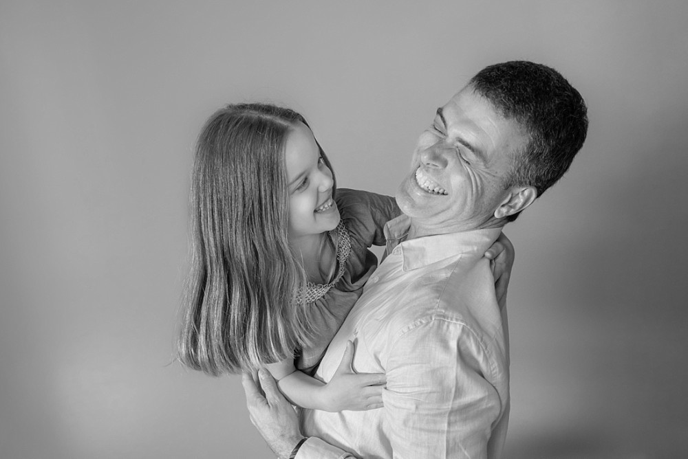 Father and daughter laughing having fun in Sydney family photography session
