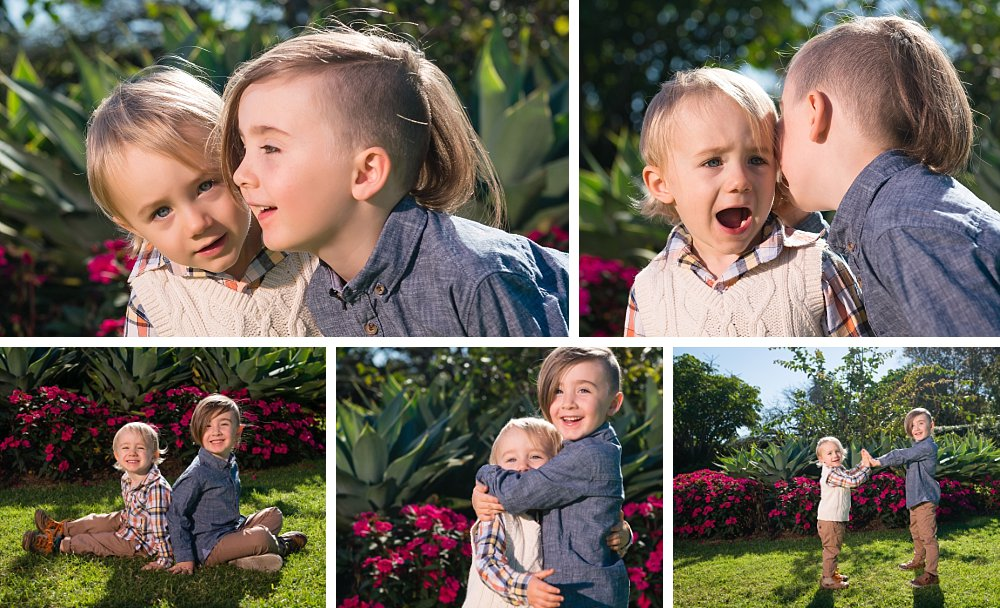 2 year old boy playing with 5 year old brother in the gardens of Centennial Park Sydney