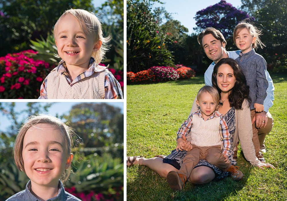Caucasian family with 2 year old boy and 5 year old boy in the gardens of Centennial Park Sydney