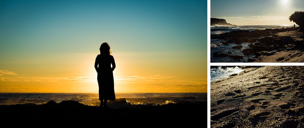 Pregnant woman silhouetted against sunrise at Little Bay Beach Sydney