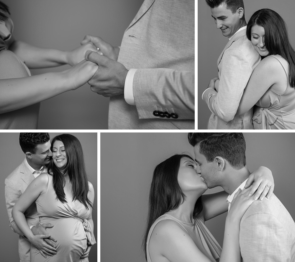 Young Caucasian pregnancy couple in Sydney studio
