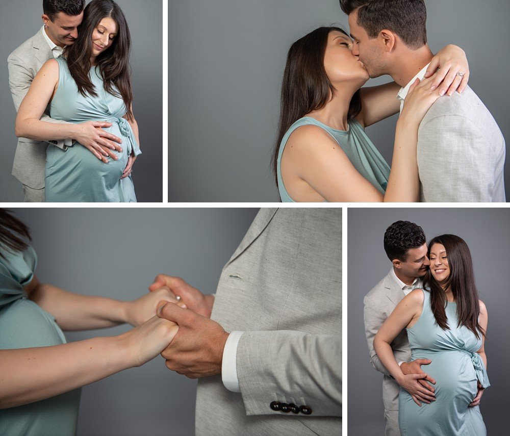 Young Caucasian couple in Sydney pregnancy photography session in studio