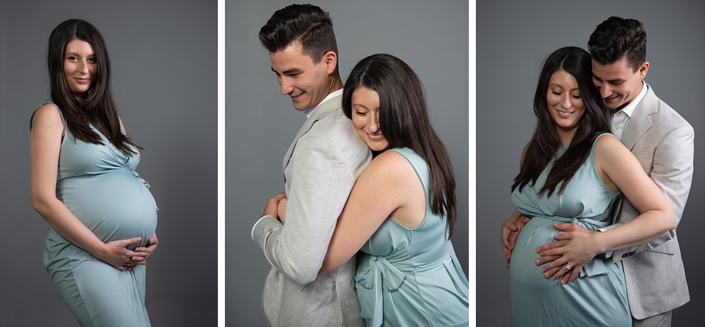 Young Caucasian couple in teal dress and grey jacket in Sydney pregnancy photography
