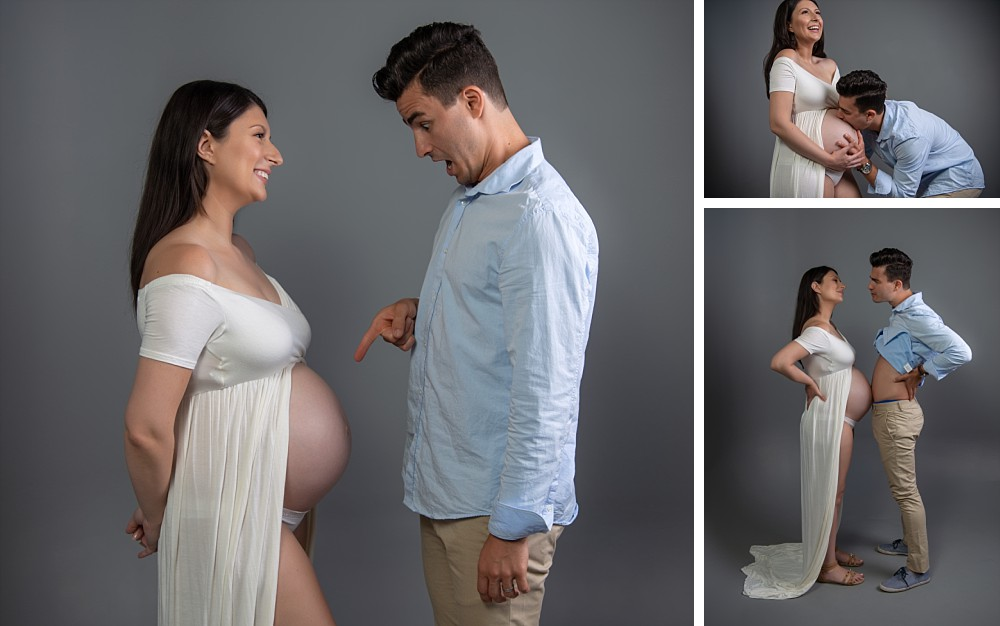 Man surprised at belly in Sydney maternity photography session