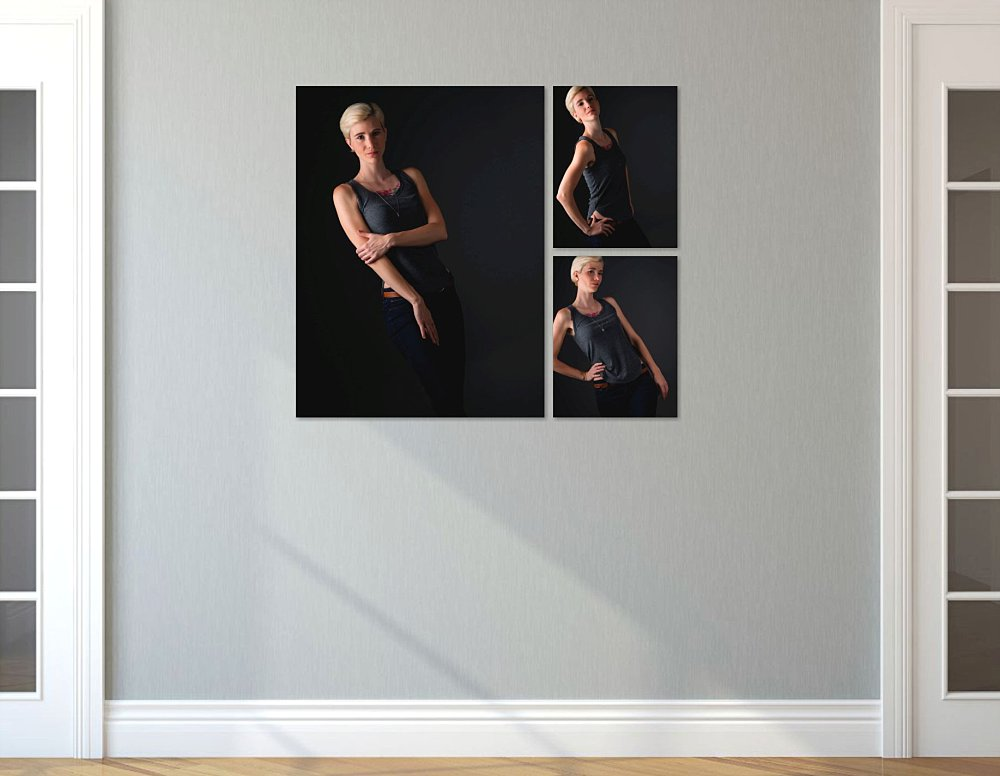 3 piece canvas collection of blonde woman on hallway wall