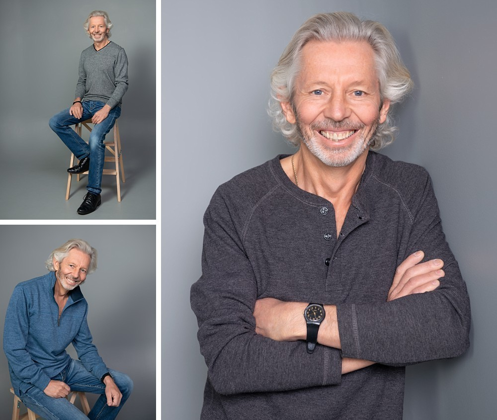 Caucasian man in studio portrait photography session
