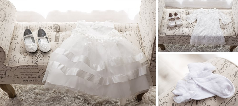 White christening baptism outfits in Sydney home