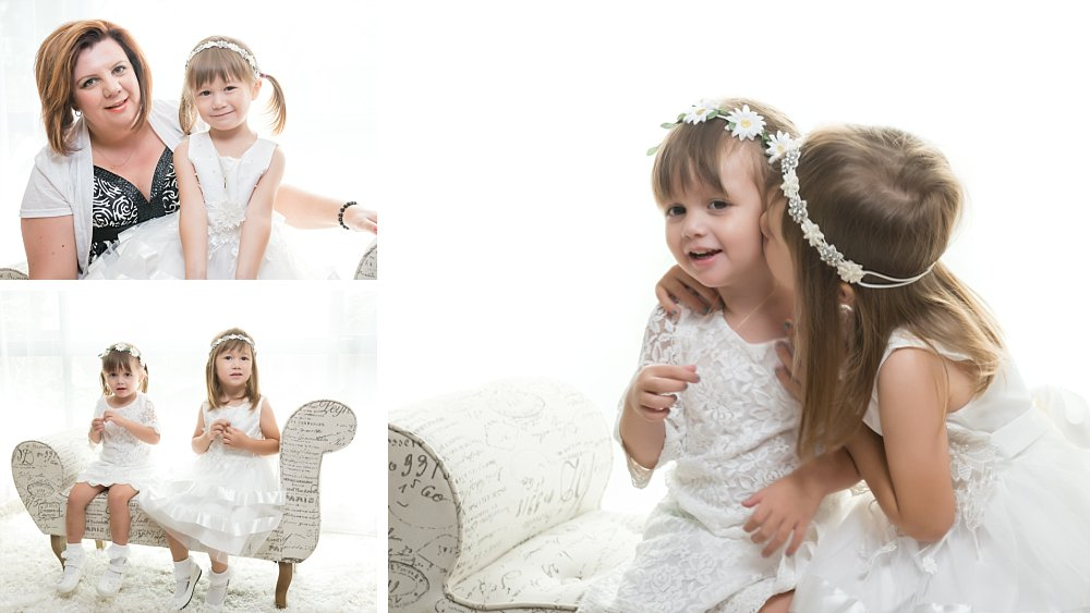Young girls dressed for christening baptism in Sydney home