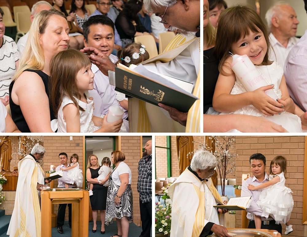 Young girl with parents at christening baptism in Sydney church