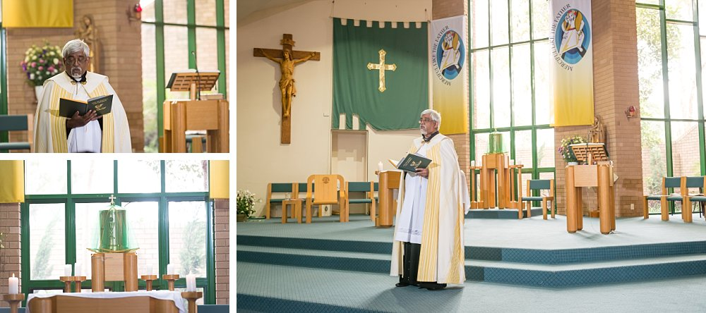 Priest overseeing ceremony at christening baptism in Sydney church