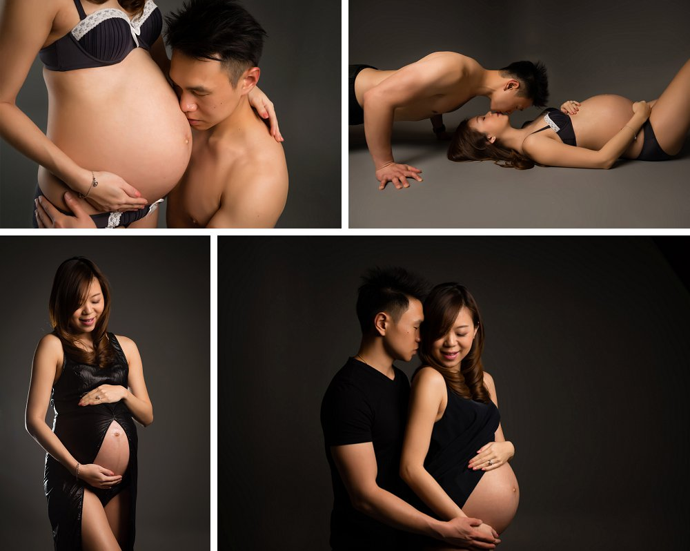 Pregnant couple in loving poses in Coogee studio