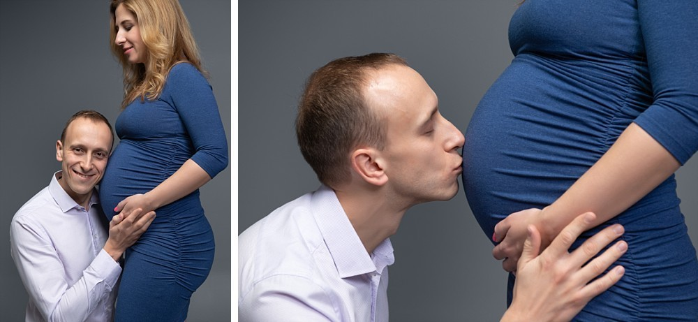 Pregnant couple in Sydney studio with man listening to belly and kissing belly